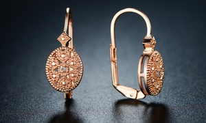 Diamond Accent Huggie Earrings in 18K Rose Gold Plated Brass