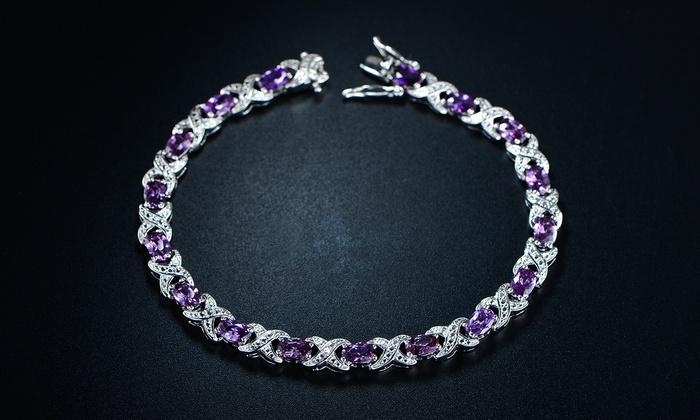 Genuine African Amethyst Diamond Accent X Link Tennis Bracelet