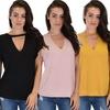 Lyss Loo Women's V-Neck Cuffed-Sleeve Tunic Top