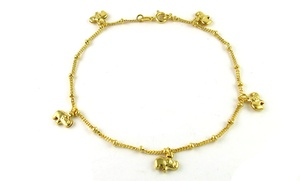 18K Yellow Gold Plated Charm Anklets by Verona