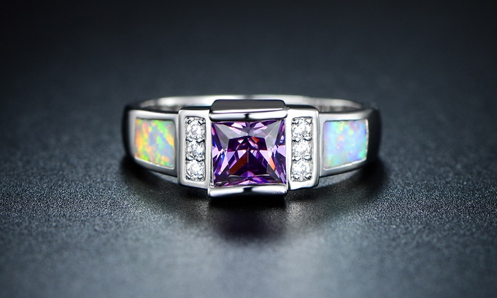 3.00 CTTW Amethyst and Fiery Opal Ring