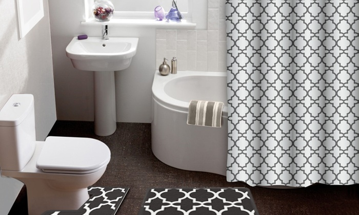 Lattice 15 Piece Shower Curtain Bath Rug Set