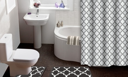 Lattice 15-Piece Shower Curtain & Bath Rug Set