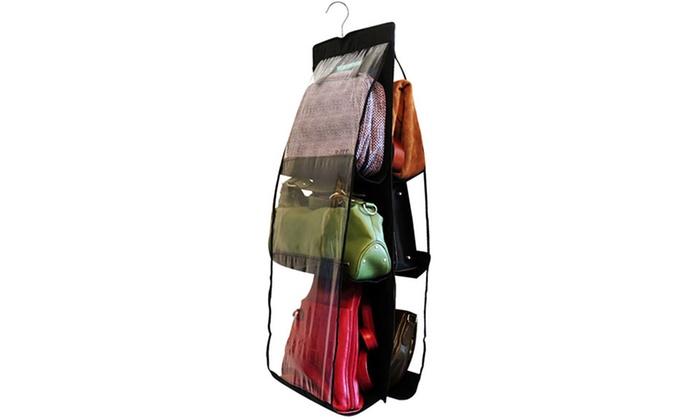 6-Pocket Handbag Anti-Dust Cover Clear Hanging Closet Bag Organizer: 6-Pocket Handbag Anti-Dust Cover Clear Hanging Closet Bag Organizer