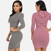 Women's 3/4 Sleeve Hoodie Bodycon Dress