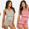 Women's Sleeveless Striped Rompers