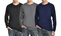 3-Pack Mens Fleece-Lined Long-Sleeve Thermal Tops