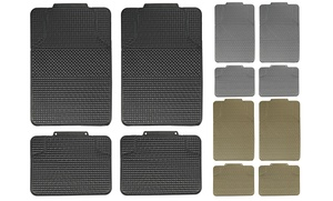 Stain-Resistant Checker Style Rubber Floor Mats (4-Piece)
