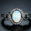 Whimsical White Opal Ring in Jet Black Rhodium