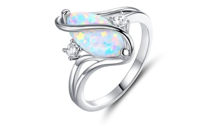 Oval-Cut White Fire Opal and Cubic Zirconia S Ring by Peermont