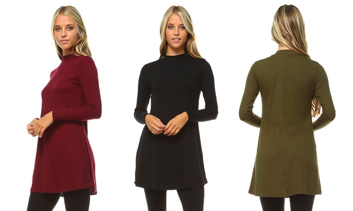 Women's Mock-Neck Tunic Dress