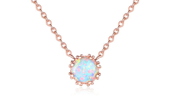 White Fire Opal Necklace Groupon Goods