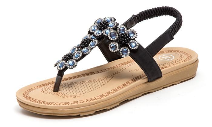 1abb3bae5ae3 Women s Slip-On or Sling Back Jeweled Sandals