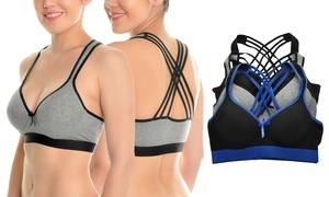 Angelina Wired Lightly Padded Strappy Back Cotton Sports Bras (3-Pack)