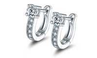 18K White Gold Plated Huggie Earrings with Swarovski Crystals by Barze