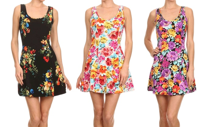Women's Floral Fit and Flare Skater Dress