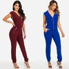 Women's Sleeveless Zip Up Stretchy Jumpsuit