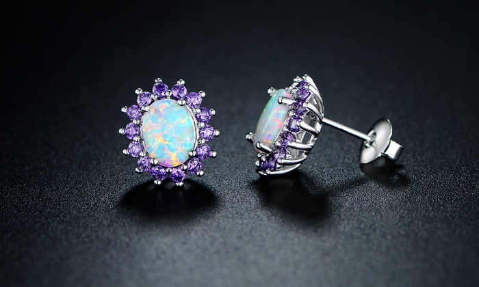 0 25 Cttw White Fire Opal And Amethyst Stud Earrings