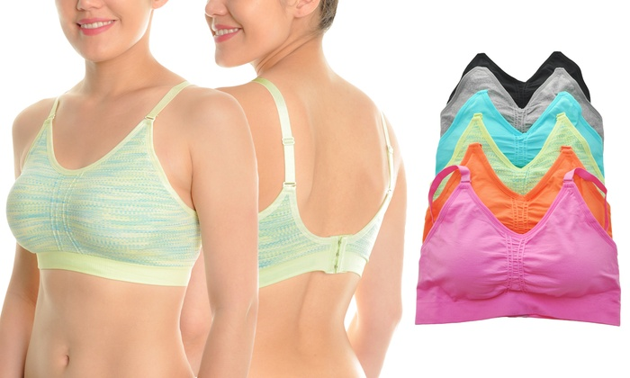 Wire-Free Medium-Impact Seamless Sports Bra with Convertible Straps (6-Pack)