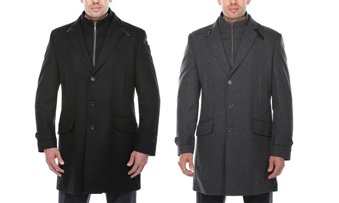 Verno Men's Classic-Fit Wool-Blend Overcoat with Detachable Bib