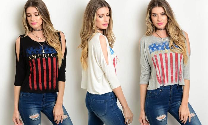 07255bfb Women's American-Flag T-Shirts | Groupon Goods