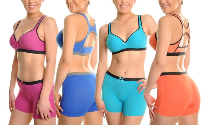 Angelina Keyhole Racerback Sports Bras or Boxer Shorts (6-Pack)