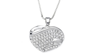 Pave Heart Necklace With Swarovski Austrian Crystals In 18k White Gold