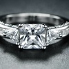 White Rhodium Plated Cubic Zirconia Cocktail Ring by Barzel