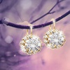 4.00 CTTW Flower Earrings with Swarovski Elements Crystals