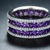 5-Row Purple Cubic Zirconia Princess-Cut Band Ring by Barzel (Size 5)