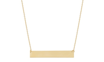 10K Solid Yellow Gold Bar Necklace