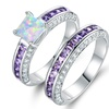 White Fire Opal Ring Set in 18K White Gold Plating by Peermont