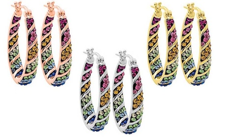 Multi Color Crystal Hoop Earrings Made with Swarovski Elements 905b88ea-9b9f-11e6-8a50-00259069d7cc