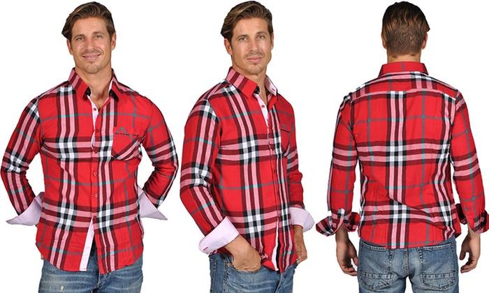 AK 1881 Men's Plaid Button-Down Dress Shirts