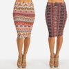 Women's Junior Stretchy High-Waist Printed Pencil Skirts
