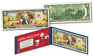 Peanuts Snoopy Colorized $2 Bill U.S. Legal Tender