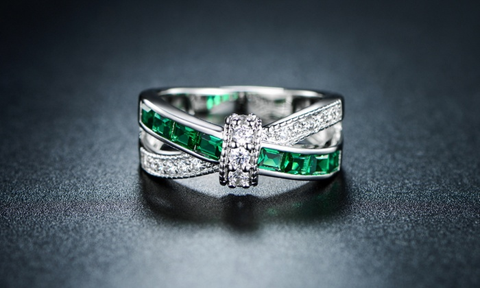 18K White Gold-Plated Emerald Criss-Cross Ring