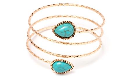 Simulated Turquoise Wrap Bracelet