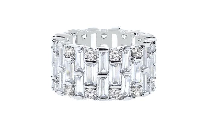 18K White Gold-Plated Eternity Ring with Swarovski Elements