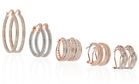 Diamond Accent Hoop Earrings in 18K Rose Gold Plating