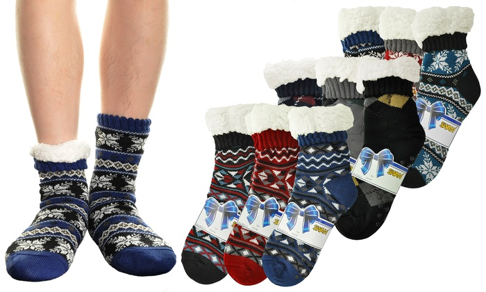 Men's Winter-Weight Fleece-Lined Thermal Socks (3 Pairs)