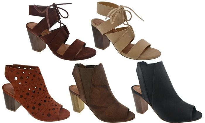 Women's Peep-Toe Block Heels