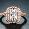 Cubic Zirconia Double Halo Engagement Ring by Barzel