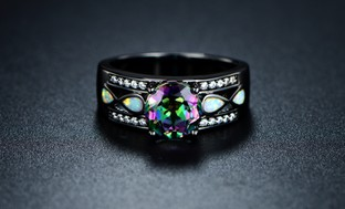 3.00 CTTW Topaz and Opal Ring in Black Rhodium Plating