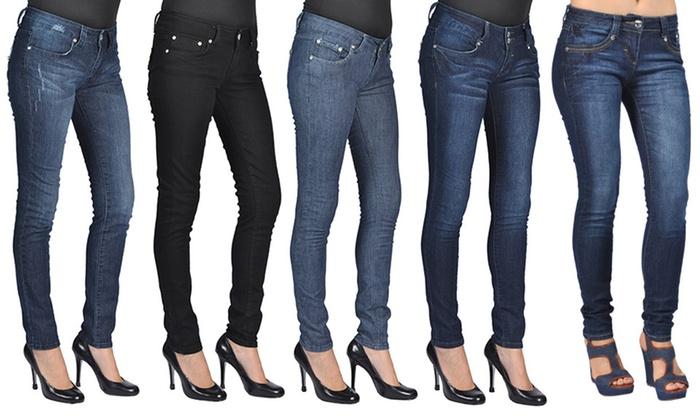 C'est Toi Women's Stud Pocket Skinny Jeans