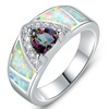 Topaz and White Fiery Opal Ring in 18K White Gold Plated Brass