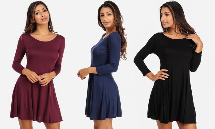 Women's Junior Quarter-Sleeve Flare Mini Dress