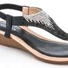 Lady Godiva Women's 6072 Metallic Thong Wedge Sandal