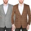 Verno Men's Wool Blend Windowpane Blazers