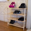 4 Tier Blonde Wood Shoe Rack : Lavish Home Wooden Shoe Storage Racks